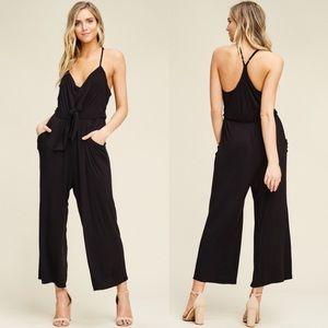 EMSLEY Front Tie Jumpsuit - BLACK